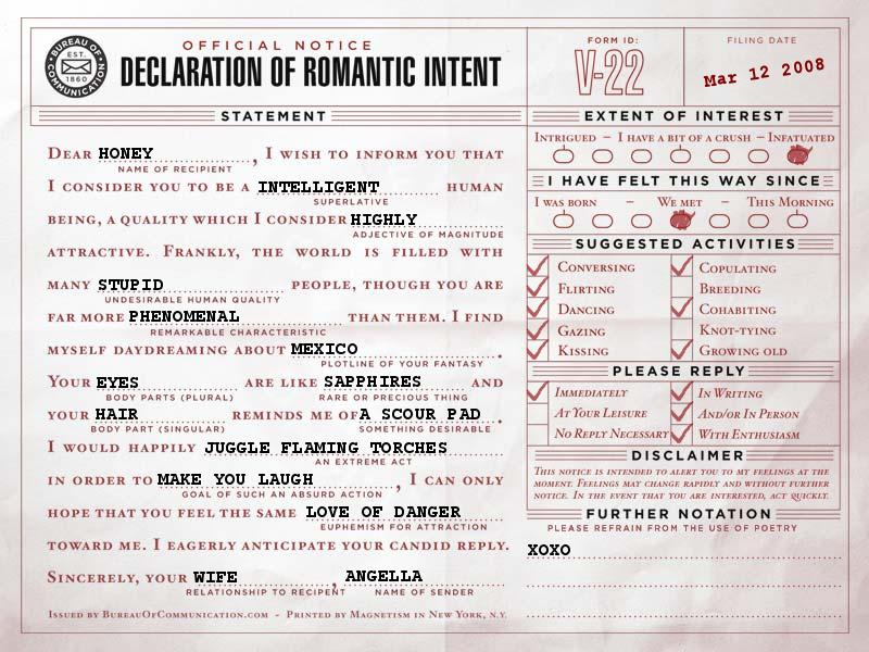 Declaration of Romantic Intent